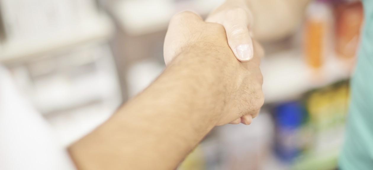 Pharmacy. Pharmacy. shaking hands